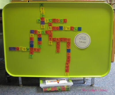 Crossword, Boggle, Poetry board centers made with spray painted oil drip pans
