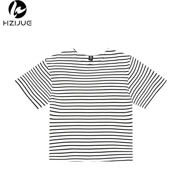 Hzijue 2017 brand clothing mens clothing camisetas de estilo urbano hip hop swag half manga de gran tamaño de manga corta a rayas camisetas Tee(China (Mainland))