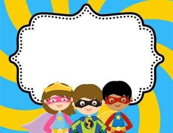 Super Hero Make your own center signs MS Word - editable