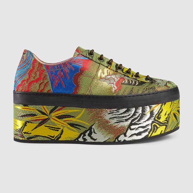 Tiger jacquard platform sneaker