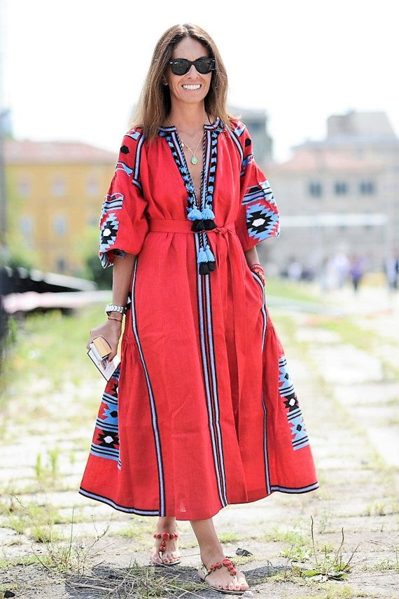 #vitakinstyle #embroidered dress FREE SHIPPING Vyshyvanka dress. Most popular etnic by HelenCloth