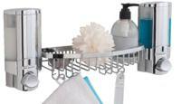 Double distributeur de savon mural chromé avec panier