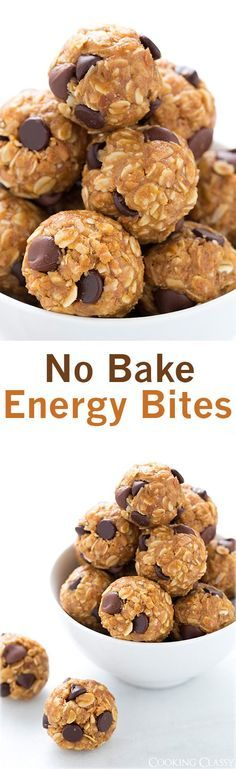 No Bake Energy Bites - these are the best snack EVER, and they're healthy! I make them all the time, even my kids beg for them.