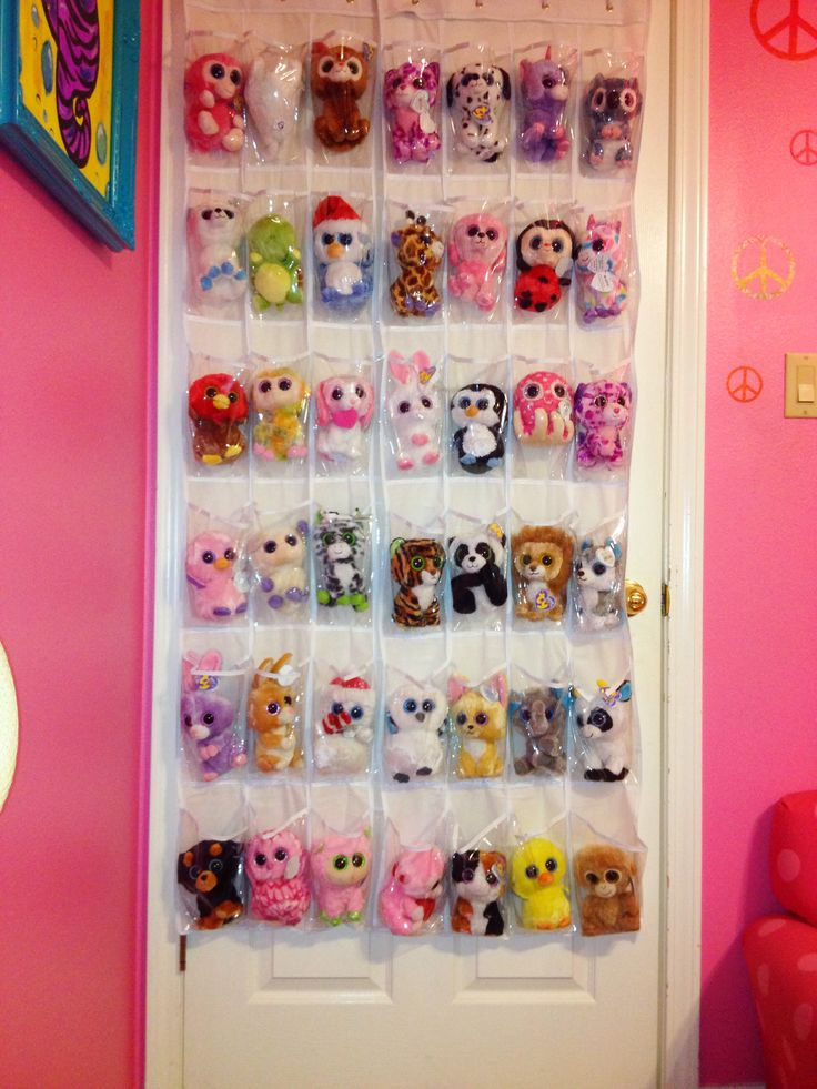 Stuffed Animal Storage - shoe rack made a great home for all Marley's Beanie Boos.