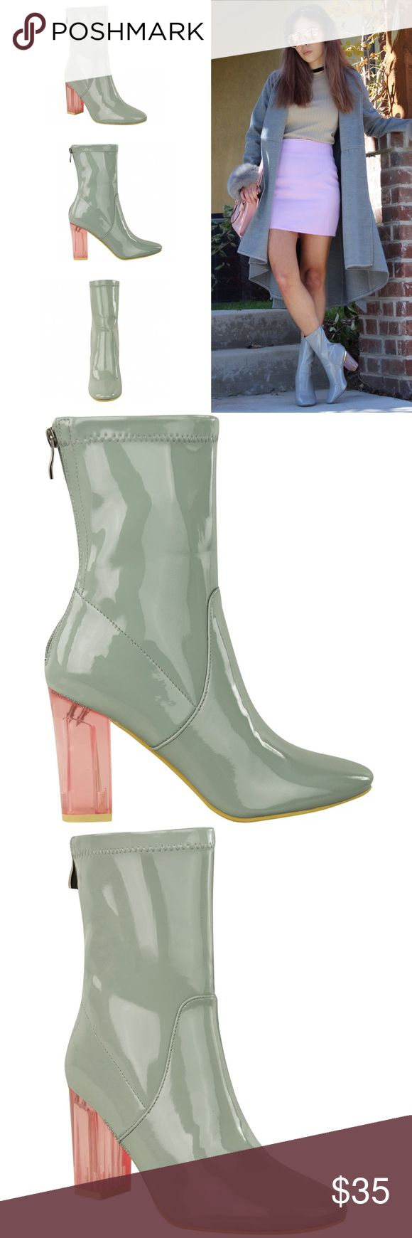 Grey Perspex pink transparent heel ankle booties These boots are inspired by the Dior perspex ankle boots seen on the fabulous Kylie Jenner! Heel height: 3.5 inches | Platform height: 0.1 inches. The toe is slightly rounded. The last picture is showing the bottom of the boots, as you can see...besides being tried on, these are in pristine condition. The 1st picture I styled a similar pair of boots, but those are mine and are not for sale 💩💩💩 Shoes Ankle Boots & Booties