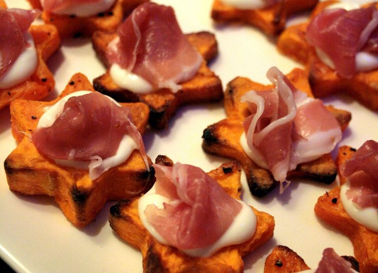 Christmas Nibbles - sweet potato topped with parma ham