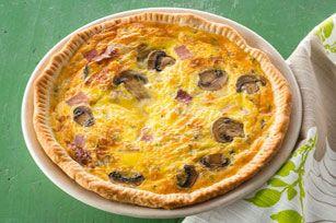 Mushroom & Ham Quiche ~ 1 frozen Puff Pastry Sheet, thawed • 1t Oil • ½lb Mushrooms • 1C chopped Ham • 1C shredded Mozzarella • 5 Eggs • ⅓C Mayo • ⅓C Milk • 1T fresh Thyme