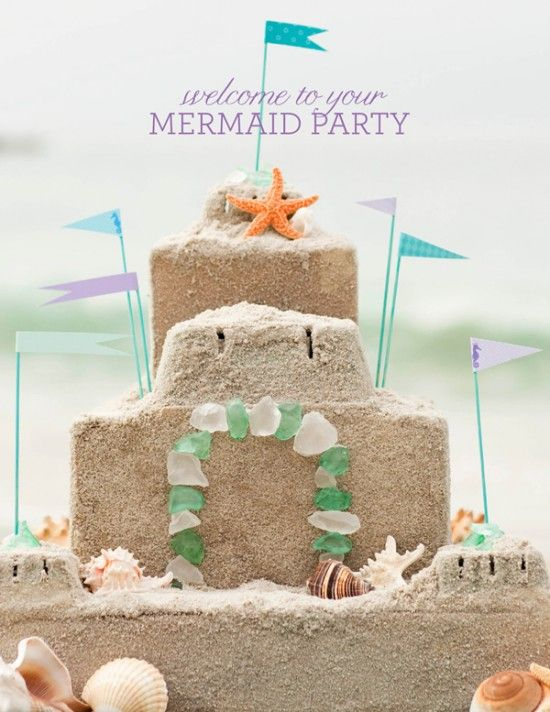 idea--beachy sandcastle cake shape...use graham crackers to look like sand over frosting...not a recipe but i like this shape and the flags.  make sugar to look like sea glass...