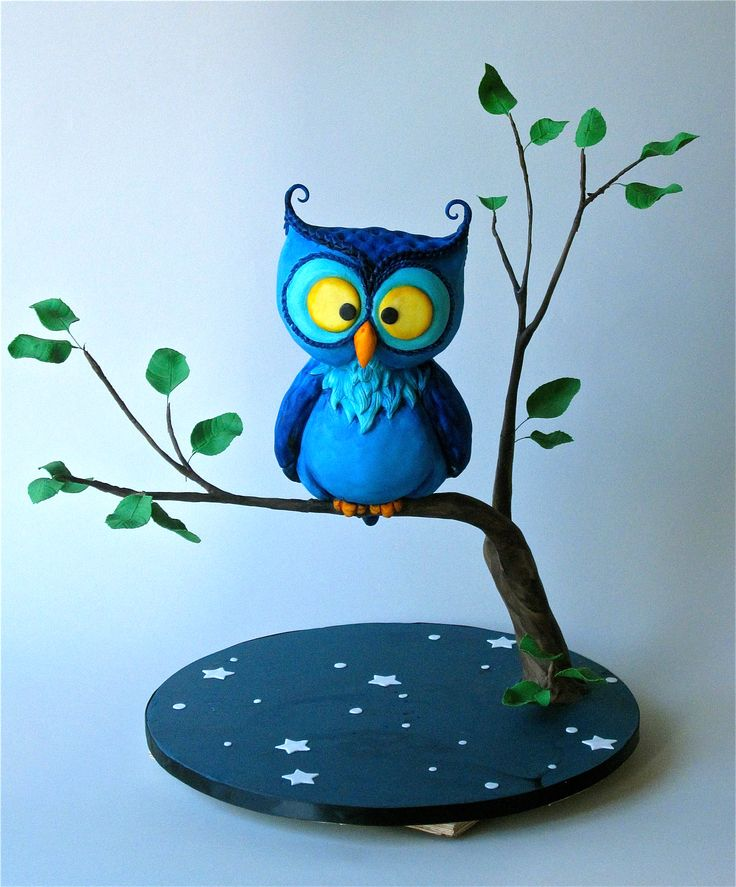 """""""Nigel the Night Owl"""" sculpted character cake by Innovative Sugarworks' spokesperson Kaysie Lackey.  http://www.sugarworks.com/"""