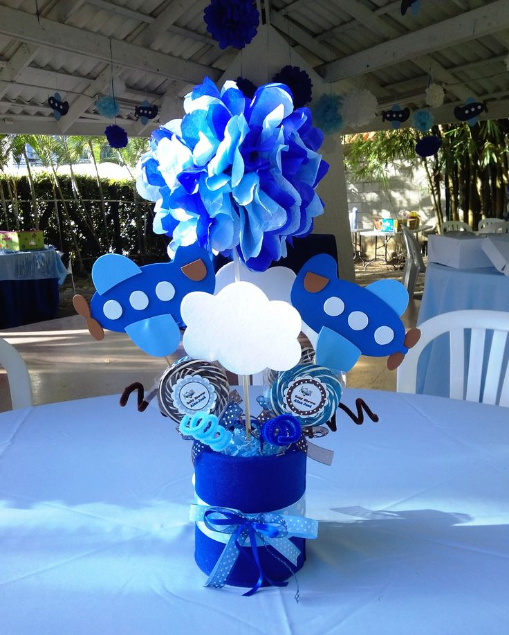 Airplane baby shower centerpiece creations by me for Airplane baby shower decoration ideas