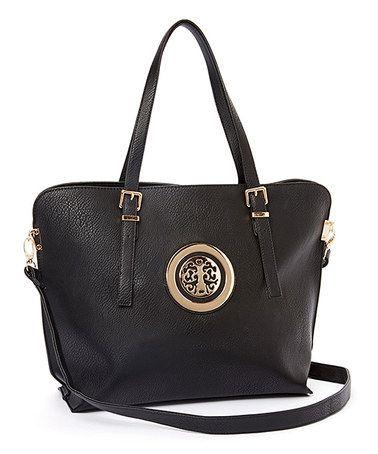 Black Medallion Shoulder Bag #zulily #zulilyfinds