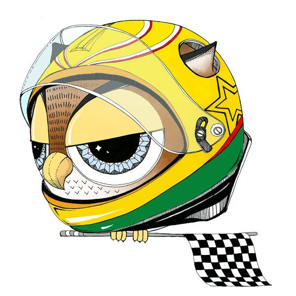 Racingulka. #owl #racing #racing helmet #sowulka #sowa #illustration #art #drawing