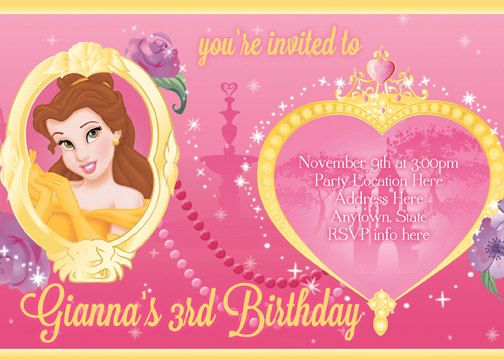 Beauty and the Beast Invitation Princess Belle Digital File 4X6 or 5X7. $5.00, via Etsy.