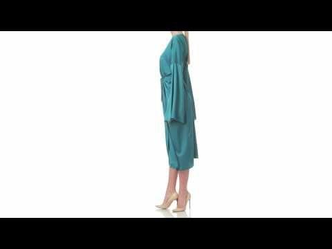 1 Kimono Green&White Reversible Double Face Dress - Laura Hincu Shop