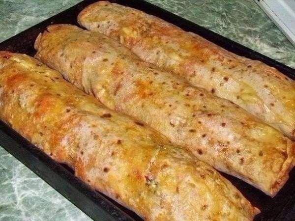 Фаршированный лаваш запечённый в духовке - Простые рецепты Овкусе.ру