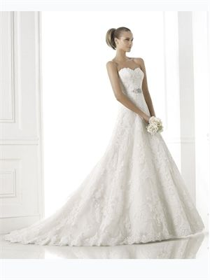 2015 White A Line Sweetheart Beads Sashes Zipper Lace Wedding Dresses Bridal Gowns AWD420440