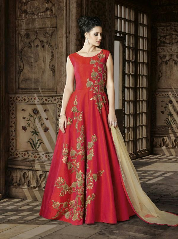 9c1c5941b5 Ocassion wear gets a new touch with the red floor length suit. An  always-classic hue meets a form-flattering fabric like art silk bearing  embroidery for a ...
