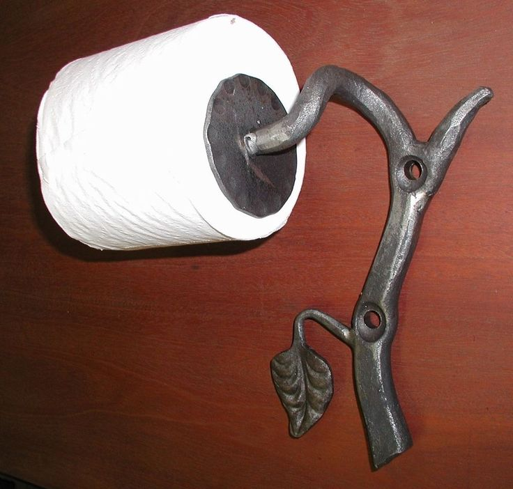 Wrought Iron Toilet Paper,Tissue Holder with Hand Forged Leaf  by Blacksmiths #Unbranded