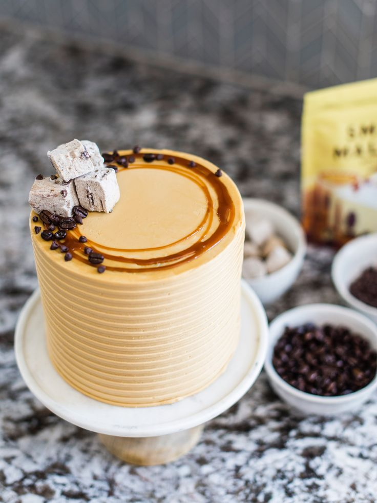 mocha chip cake is made up of rich cocoa coffee buttermilk cake layers (oil based); filled with a toasted marshmallow coffee american buttercream filling; homemade gooey, rich, creamy salted caramel; and mocha american buttercream.