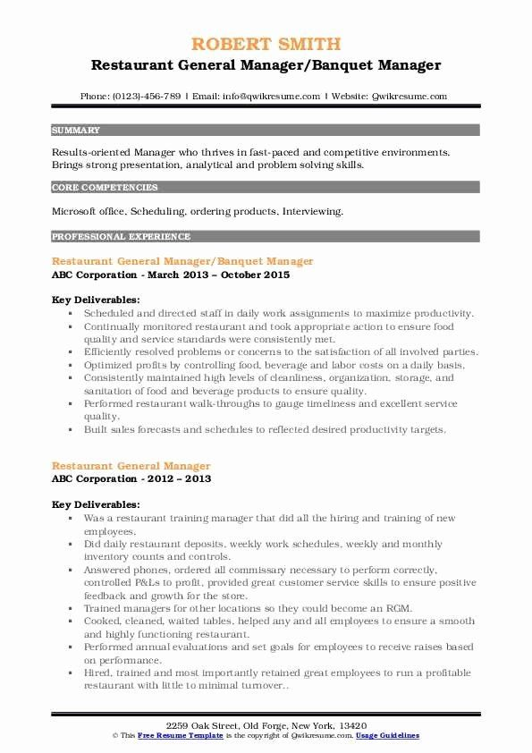 Restaurants Manager Resume Example New Restaurant General Manager Resume Samples Manager Resume Resume Examples Professional Resume Writing Service