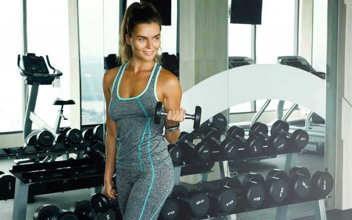 Download wallpapers gym, bodybuilding concepts, training, exercise, dumbbells, girl athlete