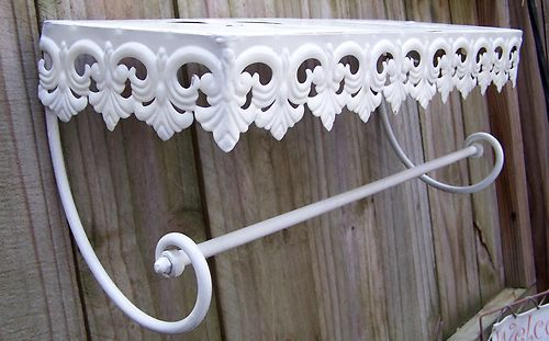 Vintage metal hanging wall shelf towel bar nice pierced fleur de lis edge - Fleur de lis towel bar ...