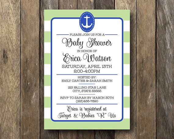Blue and Green Baby Shower Invitation  Anchor by TheLionAndTheLark