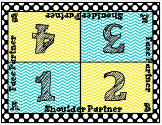 Cooperative Learning Table Mat Freebie - I made my own set with 4 colors for choosing different students during activities.