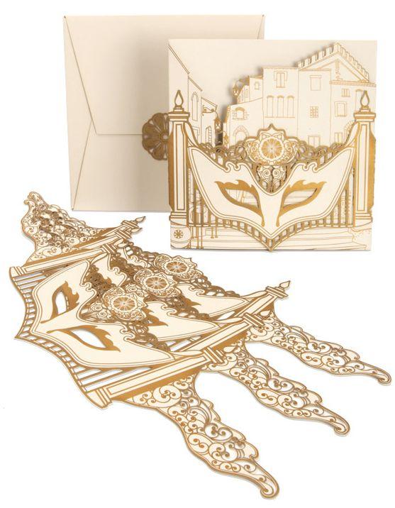 Cutture gold laser-cut masquerade party invitation
