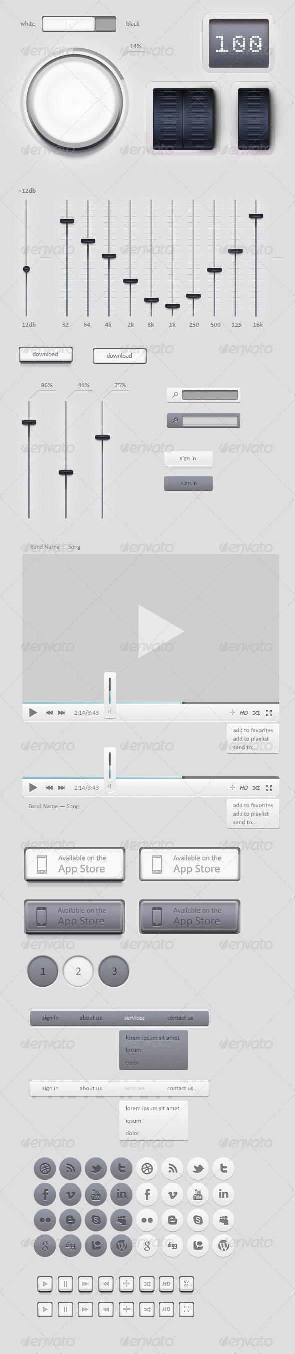 Light Music/Video GUI Set