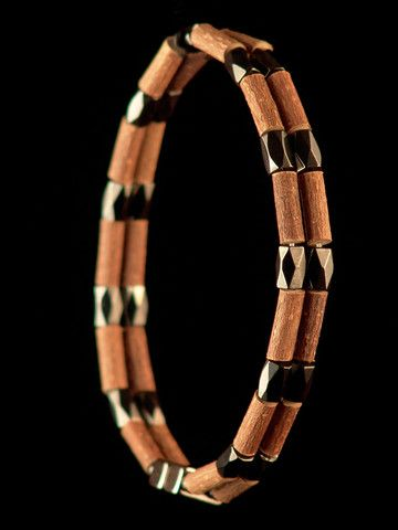 Men Hazelwood Double row Bracelet with Double face Magnetic Hematite beads