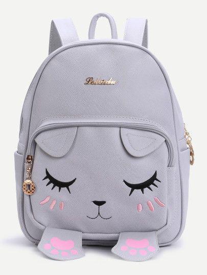 Grey Cat Face Design Cute Backpack