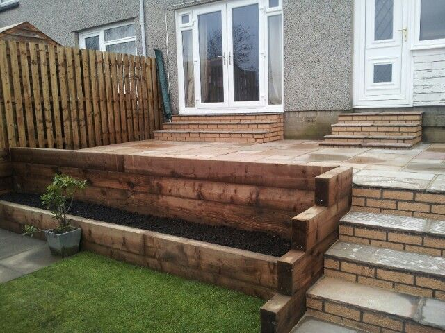 Love my new railway sleepers. Act as a retaining wall and flower bed!