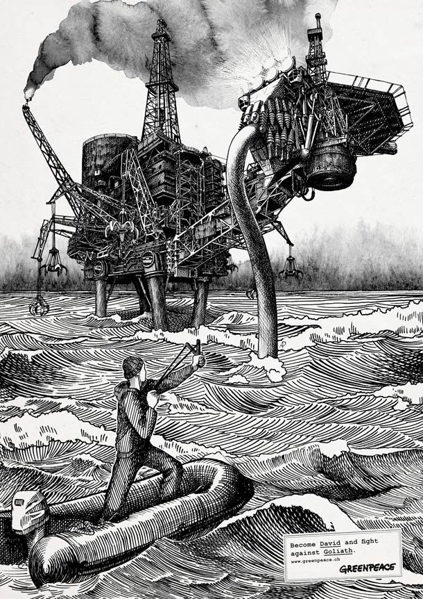 """""""Become David and Goliath fight Against"""", series of posters for the new campaign by Greenpeace. Illustration signed Anatolij Pickmann."""