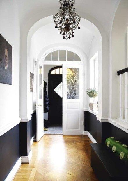 Foyer -- painted black below chair rail --- from Skona Hem ~~~ like the dark on bottom light on top look