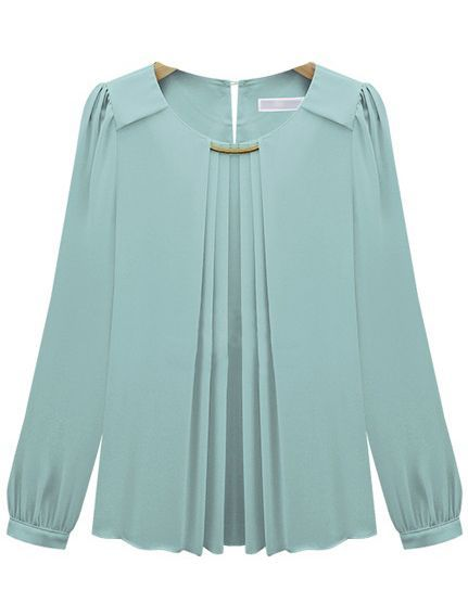 Blue Long Sleeve Metal Embellished Chiffon Blouse - Sheinside.com: