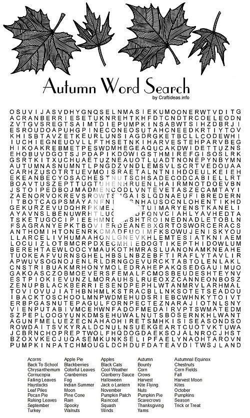 Autumn Word Search Printable in 2020 | Free printable word ...