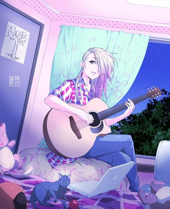 Her name is Luna she love to play the guitar and the night. Adopt?