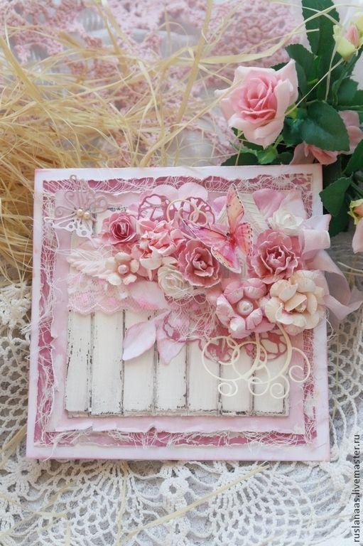 """Купить """"Нежное Шебби"""" авторская открытка ручной работы - розовый, Открытка ручной работы"""