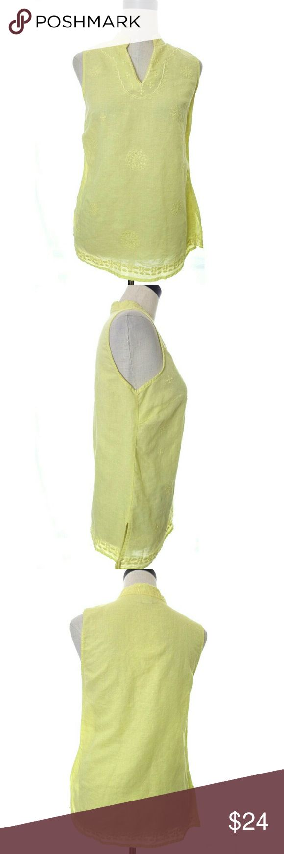 """David Brooks Linen Top Size: Small  Size Type: Regular  Material: 55% Linen, 45% Cotton.  Measurements: Armpit to armpit is 17"""" across when flat. Shoulder to hem is 25"""".  Condition: Excellent used condition. No holes or stains.  Details: Lightweight embroidered yellow sleeveless linen blend top by David Brooks.  wt2958 David Brooks Tops Blouses"""