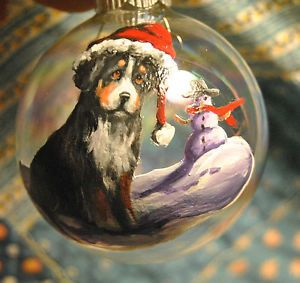 This artist paints many breeds of dogs onto glass ball ornaments...they are awesome!!  And a portion of her earnings goes to The Circle G Ranch horse Rescue .  Original Painting Bernese Mountain Dog Miniature Christmas Ornament Snowman USA | eBay