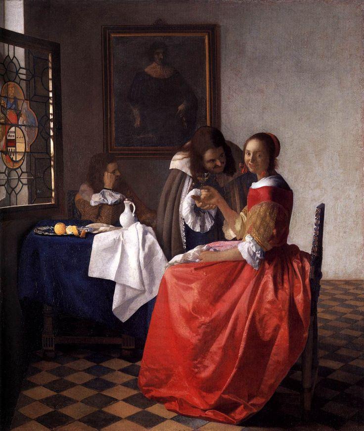Johannes Vermeer Paintings | Johannes_Vermeer_-_A_Lady_and_Two_Gentlemen_-_WGA24639