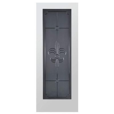 Steves Sons Fleur De Lis Full Lite Solid Core Pine Obscure Glass Interior Slab Door