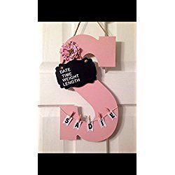 Initial Hospital Door Hanger announcement child room nursery personalized birth stats, birthing suite Sign