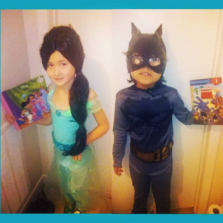 Today was book character day at my siblings school!  My sister went as Jasmine from the book One True Love wearing her costume I made her for Oni last year and my brother wore his batman I got him for Renfest last year with the addition of my catwoman mask because he lost his batman one. #princess #Jasmine  #cosplay #costume #diy #craft #crafter #hobby #genie #pants #teal #blue #green #material #glue #pictures #photos #pics #pix #photoeditor #collage #bookcharacterday. #siblings…