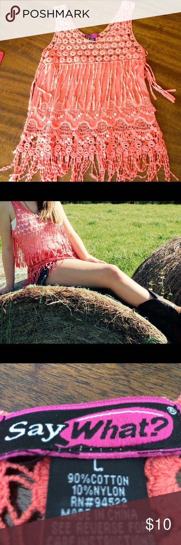 Fringe tank top Crochet fringe top, goes perfect with a pair of jean shorts and cowboy boots. Say What? Tops Tank Tops