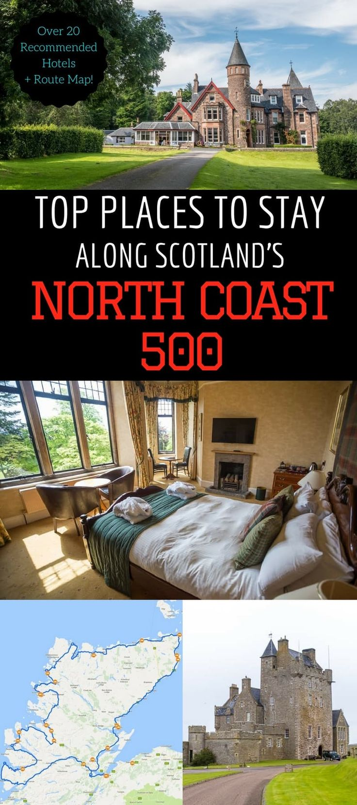 Hotel Guide for the top hotels along Scotland's North Coast 500 - the ultimate Scottish road trip. Over 25 accommodation options which include castle hotels, romantic B&B, historic mansion hotels, luxury hotels, and seaside cottages. Find out where to stay along the NC500 for any budget, includes a map!