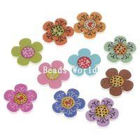 100 Ks smíšené květ 2 otvory do dřeva Šicí Tlačítka umělecká Šperky Craft DIY dekorace 20mm (W05066 X 1)