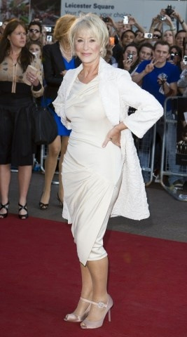 Helen Mirren gets shows off that famous figure with a dress accented by ruching (a gal's best friend.