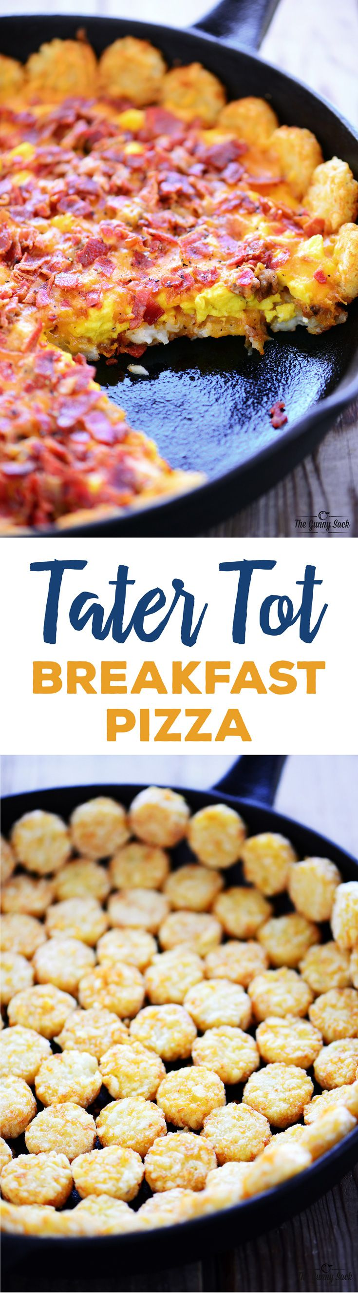 Tater Tot Breakfast Pizza recipe with crispy potatoes, scrambled eggs, melted cheese, crispy bacon and sausage is delicious at breakfast or brunch!
